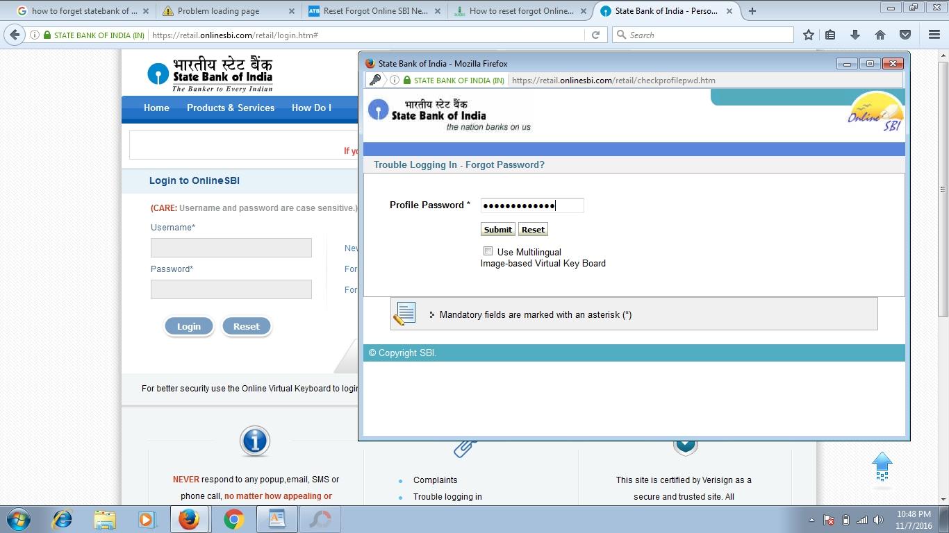 How to reset forgot Online SBI Login NetBanking Password