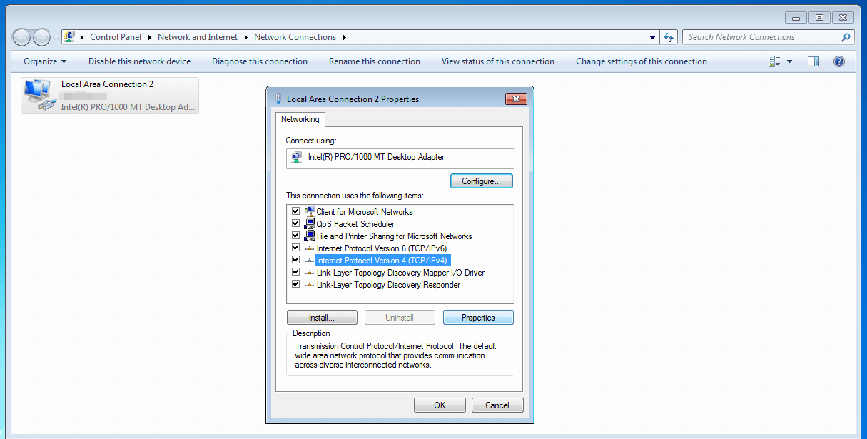 Select the internet protocol