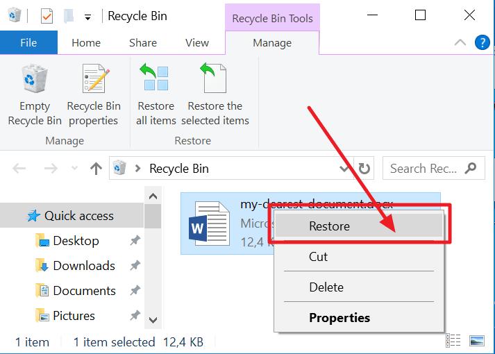 click on the restore button