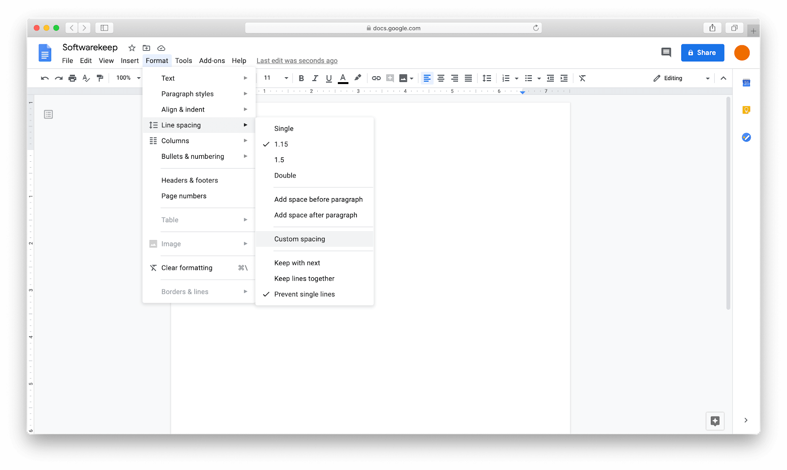 Using custom spacing to delete a page in Google docs