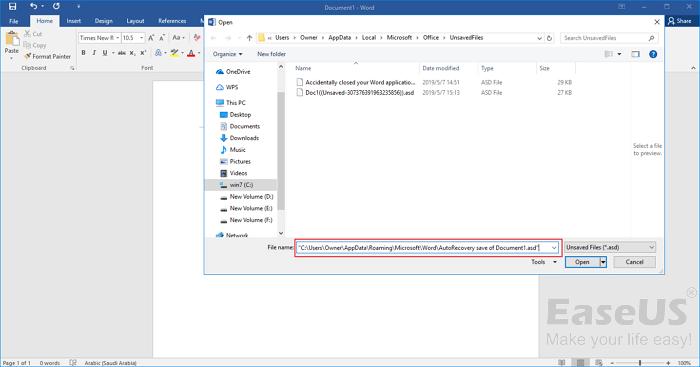 paste the AutoRecover file
