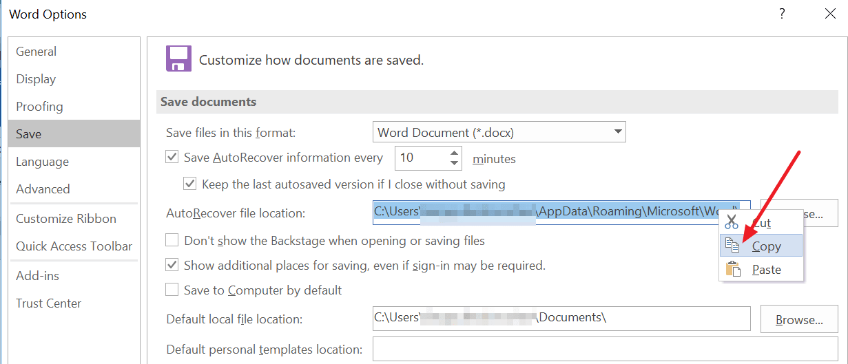 copy the location path of the AutoRecover file